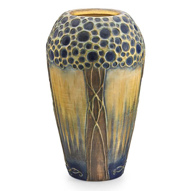 Paul Dachsel, 'Riessner, Stellmacher & Kessel, Large Amphora Confetti Vase With Trees, Turn-Teplitz, Bohemia', Early 20th C., Rago/Wright