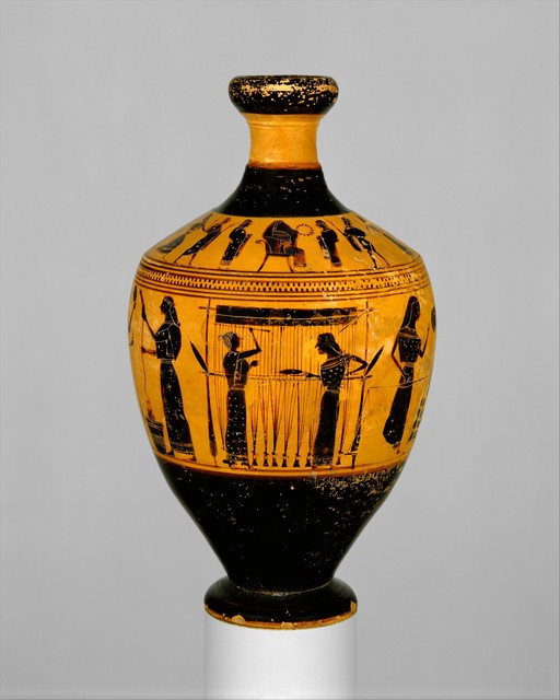 Attributed to the Amasis Painter, 'Terracotta lekythos (oil flask)', ca. 550–530 B.C., The Metropolitan Museum of Art