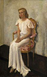 Portrait of a lady in an elegant white dress
