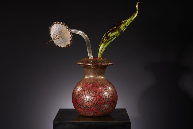 Dale Chihuly, 'Gilded Carmine Ikebana with Stem and Citron Leaf', 2018, Schantz Galleries