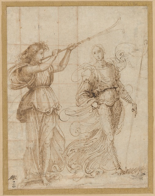 Baccio della Porta, called Fra Bartolommeo, 'An Angel Blowing a Trumpet, and Another Holding a Standard', ca. 1500, Drawing, Collage or other Work on Paper, Pen and brown ink, squared in red chalk for transfer on laid paper; laid down, National Gallery of Art, Washington, D.C.