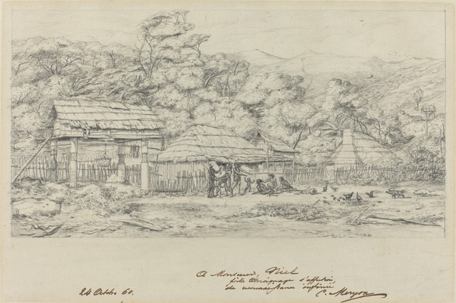 Charles Meryon, 'Greniers indigenes et habitations a Akaroa, presqu'Ile de Banks', 1860, National Gallery of Art, Washington, D.C.