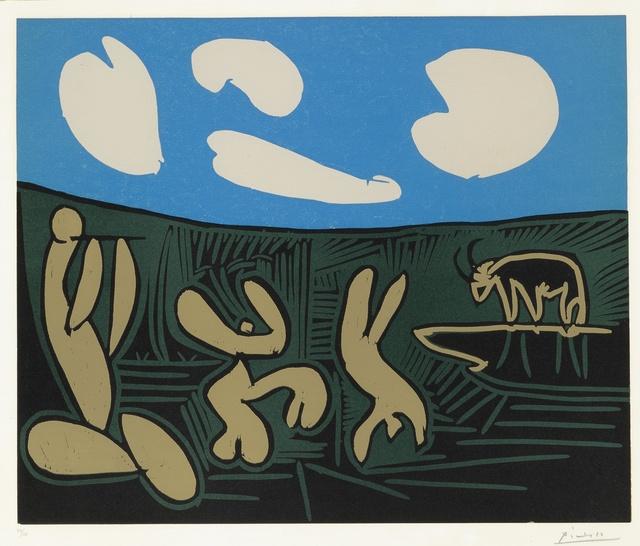 Pablo Picasso, 'Bacchanale à l'acrobate (Bacchanale au taureau) (B. 933; Ba. 1264)', 1959, Print, Linoleum cut printed in colors, Sotheby's