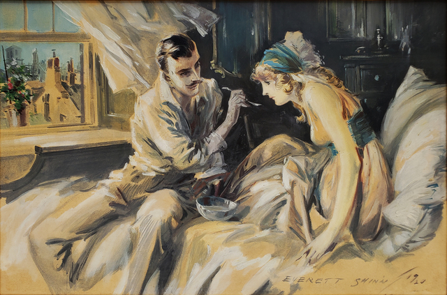 Everett Shinn, 'Hearts Unreasoning, by Sarah Bernhardt The First of Six Romances of the French Stage ', 1920, Painting, Oil on Board, Robert Funk Fine Art