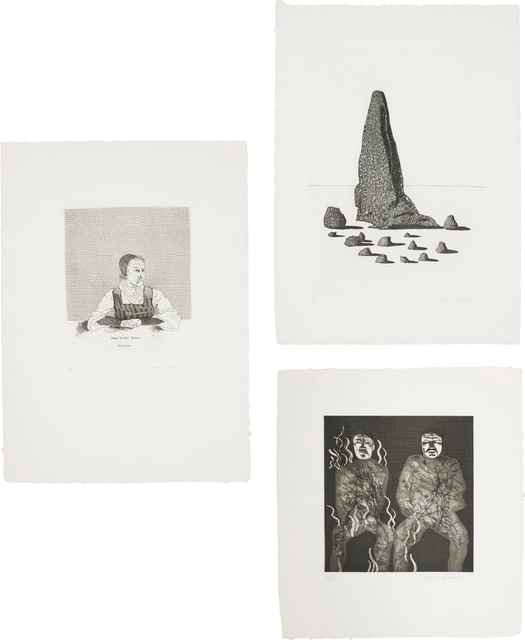David Hockney, 'Catharina Dorothea Viehman; The Sexton Disguised as a Ghost Stood Still as Stone; and Corpses on Fire, plates 1, 21 and 22 from Illustrations for Six Fairy Tales from the Brothers Grimm', 1969, Phillips