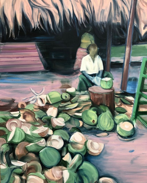 Lei Qi, 'The guy who splits coconuts', 2020, Painting, Oil on canvas, Matthew Liu Fine Arts