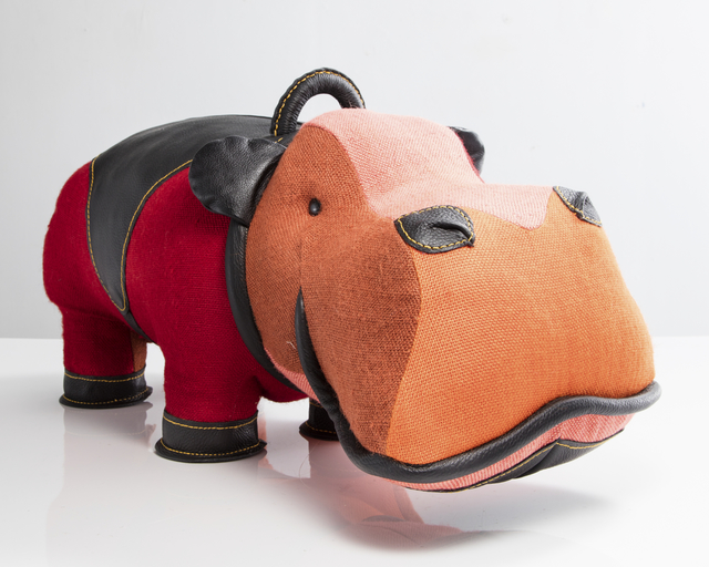 ", '""Therapeutic Toy"" hippopotamus in patchwork red jute with black leather detailing. Designed and made by Renate Müller, Germany, 2016.,' 2016, R & Company"