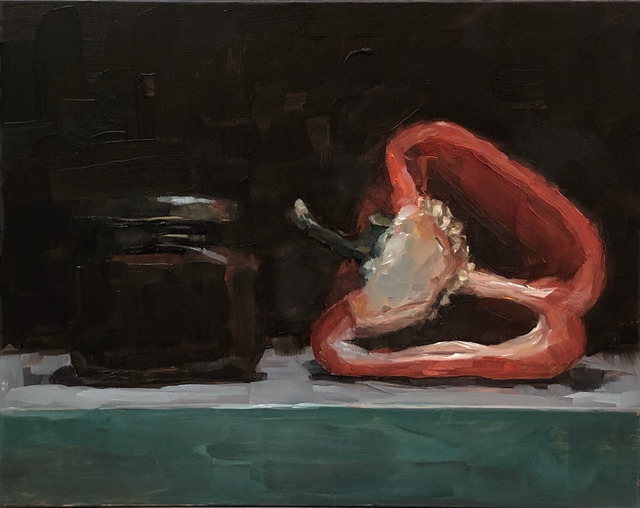 Tom Giesler, 'Study of partners: middle shelf fridge #1', 2019, Painting, Oil on panel, McVarish Gallery