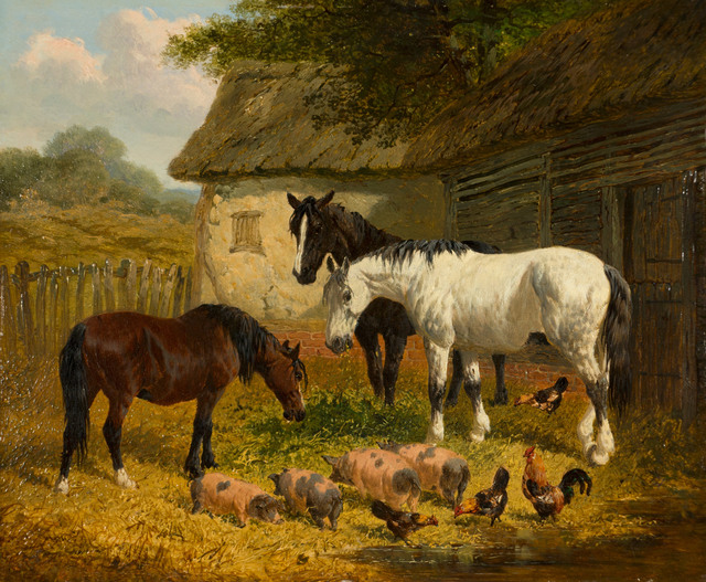 John Frederick Herring Jr., 'Farm Yard with Horses, Piglets and Fowl', 19th Century, Vose Galleries