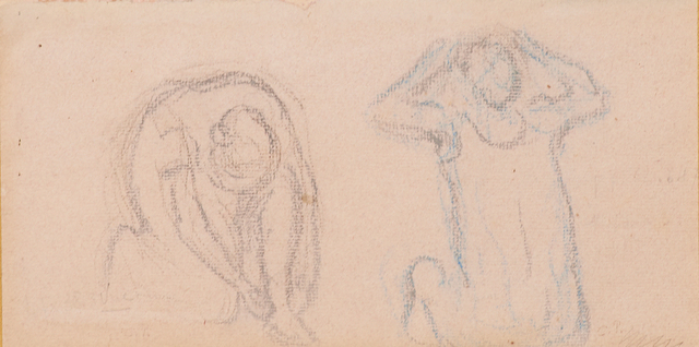 Camille Pissarro, 'Deux Femmes', Drawing, Collage or other Work on Paper, Pencil on paper laid to board (framed), Rago/Wright