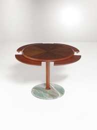 A low table with a marble base and a wooden structure