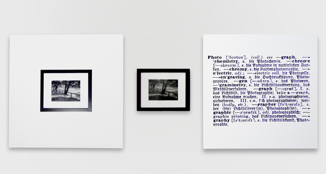 Joseph Kosuth, 'One and three photograph (Eng.-German)', 1965, Painting, Photograph, mounted photograph of a photograph, and mounted photographic enlargement of a dictionary definition, Sprüth Magers