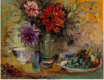 Nature morte aux fleurs et au compotier