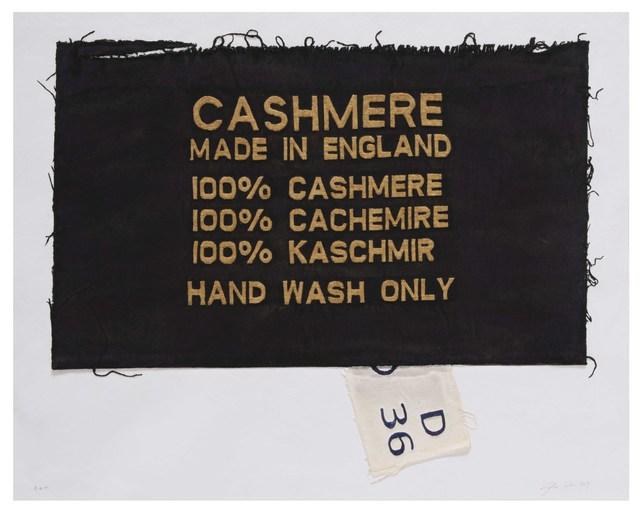 Analía Saban, '100% Cashmere, Made in England, Clothing Tag', 2019, Mixografia
