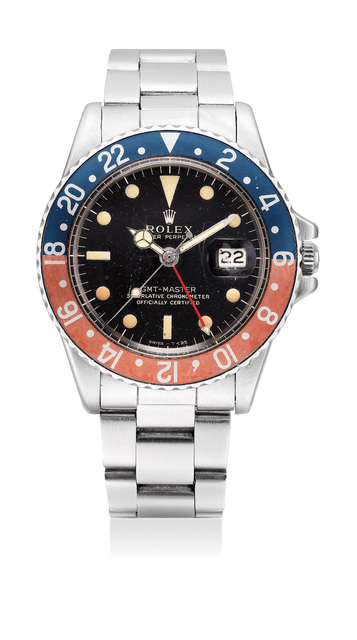 Rolex, 'A fine and attractive stainless steel dual-time wristwatch with black lacquer dial, date and bracelet', Circa 1966, Phillips