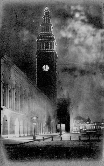 , 'Ferry Building at Night,' 1903, de Young Museum