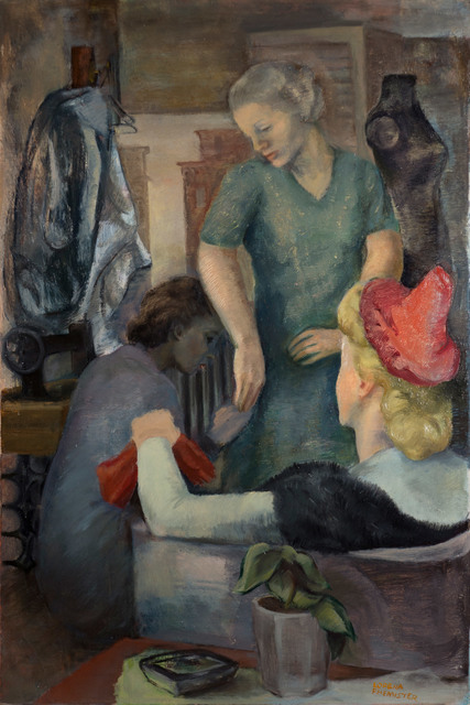 Lorena Phemister, 'The Seamstress', ca. 1945, Painting, Oil on Masonite, Vose Galleries