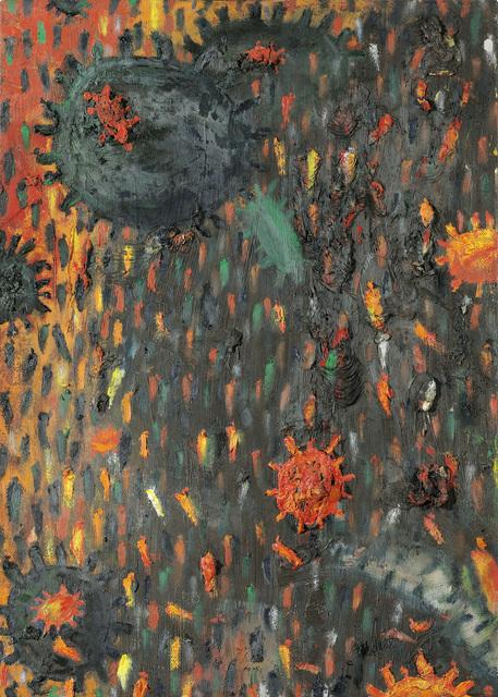 """, '""""Dunkles Weltfeld-Flämmlerflimmern"""" (Dark Worldfield-Flameflicker),' 1999, Galerie Bei Der Albertina Zetter"""