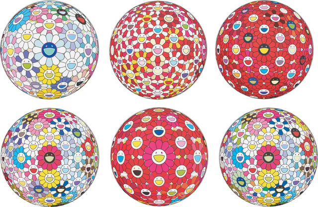 Takashi Murakami, 'Cosmic Power; Flowerball: Koi/Red crowned Crane Vermilion; Flowerball: Bright Red; Space Show; Thinking Matter (Red); and Hold Me Tight', 2016-2017, Phillips