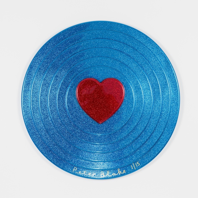 Peter Blake, 'Red heart on blue (metal flake)', 2017, Paul Stolper Gallery