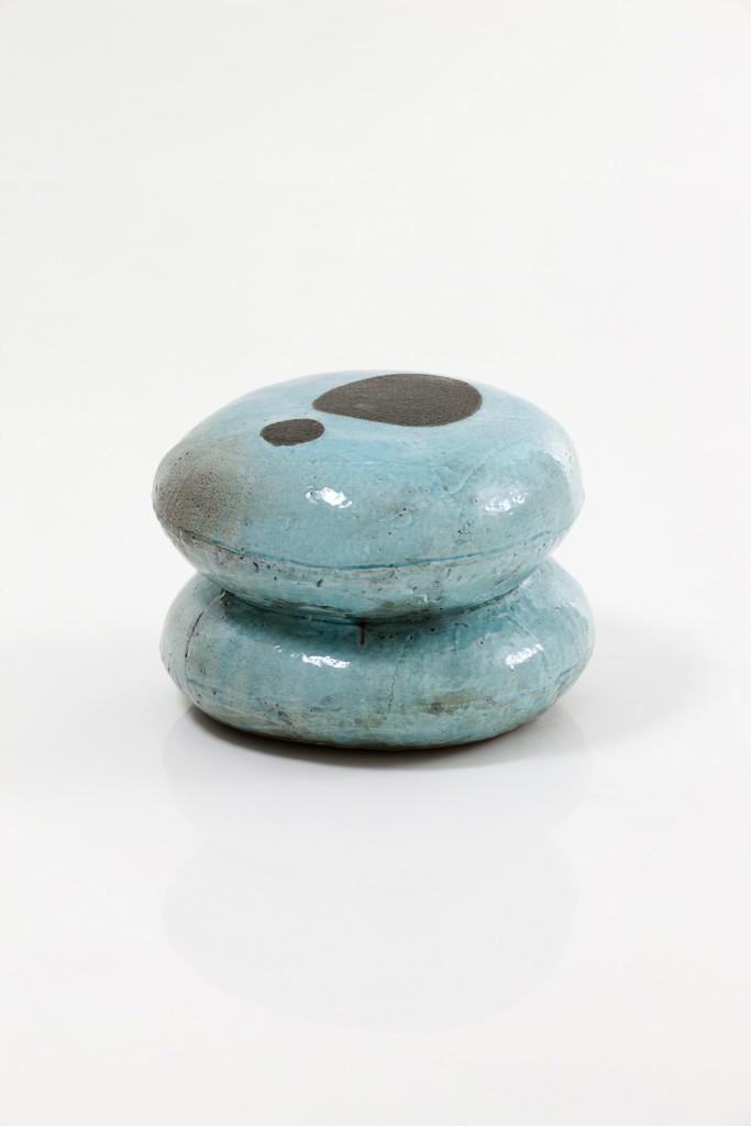Lee Hun Chung, 'Blue Double Macaroon Stool with Charcoal Dots,' 2012, Edward Tyler Nahem Fine Art LLC