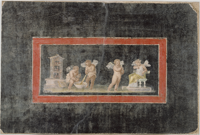 'Fresco Fragment with Cupids and Psyche Making Perfume',  third quarter of 1st century, J. Paul Getty Museum