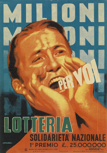 Alfredo Lalia, 'MILIONI PER VOI / LOTTERIA', Swann Auction Galleries