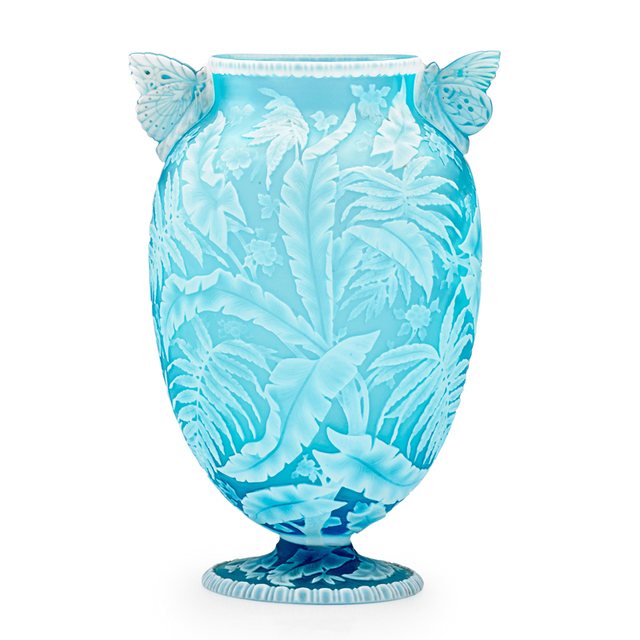Thomas Webb & Sons, 'Exceptional Vase With Palm Fronds, Ferns  Blossoms And Butterfly Handles, England', Late 19th C., Rago/Wright