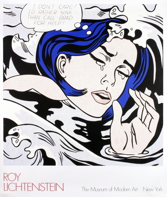 """Roy Lichtenstein, '""""Drowning Girl"""" by Roy Lichtenstein, MOMA First Edition Billboard Poster', 1989, Posters, High Quality Silkscreen Museum Exhibition Poster, David Lawrence Gallery"""