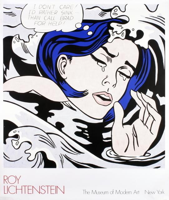 """Roy Lichtenstein, '""""Drowning Girl"""" by Roy Lichtenstein, MOMA First Edition Billboard', 1989, David Lawrence Gallery"""