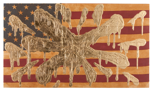 , 'Gold Bombed Flag (gold splatter),' 2017, Fabien Castanier Gallery