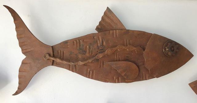 "Hugh Holborn, '""Albulidae #4"" forged salvage steel fish wall sculpture', 2019, Eisenhauer Gallery"
