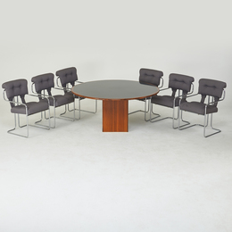 Artona dining table, together with six arm chairs