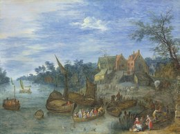 Josef van Bredael, 'A river landscape with boats by a village', Christie's Old Masters