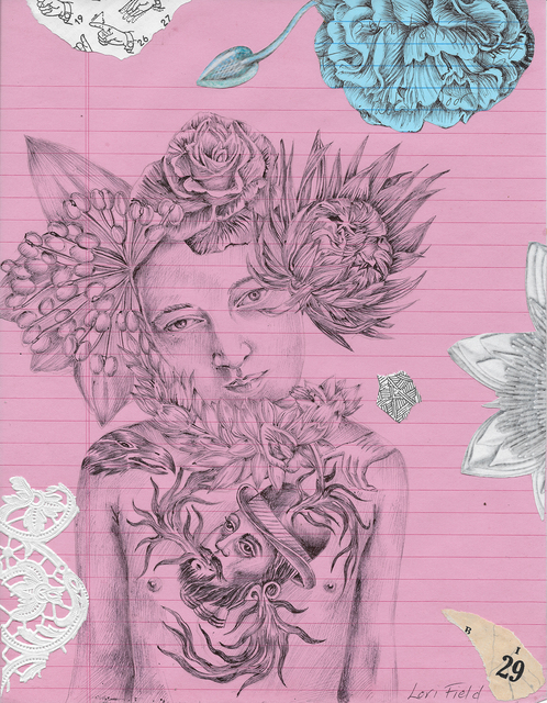 Lori Field, 'Moulin Rose', 2020, Drawing, Collage or other Work on Paper, Archival ball point pen, collage on paper, Imlay Gallery