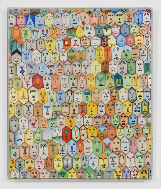 Alighiero Boetti, 'Faccine Colorate', 1979, Painting, Silkscreen and pastel on paper laid on canvas, TOTAH