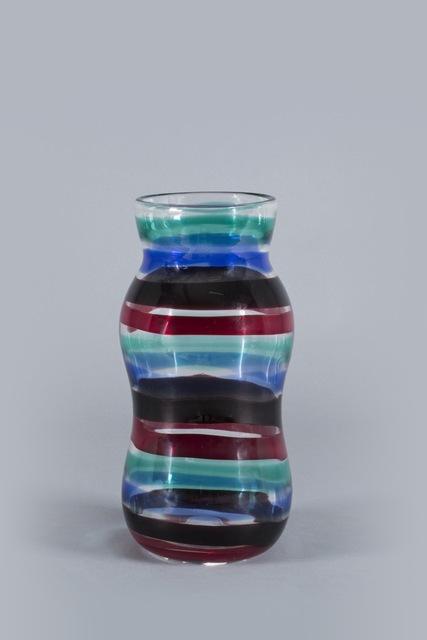 Fulvio Bianconi, 'Venini, Fasce Orizzontali vase', 1953, Design/Decorative Art, Transparent, red, black, blue and green glass., Finarte