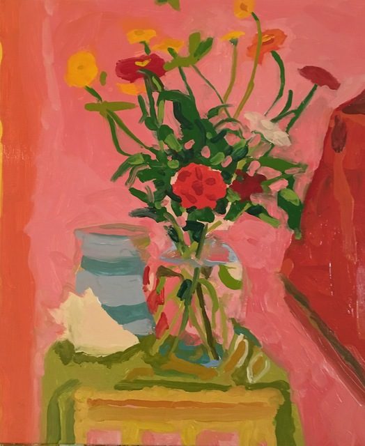 , 'Zinnias, Striped Pot, Shell,' 2016, Cerulean Arts