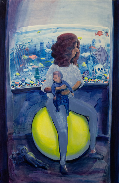 Hilary Doyle, 'Mother and Child on a Yoga Ball II (Fish Tank)', 2020, Painting, Acrylic on canvas, Taymour Grahne Projects