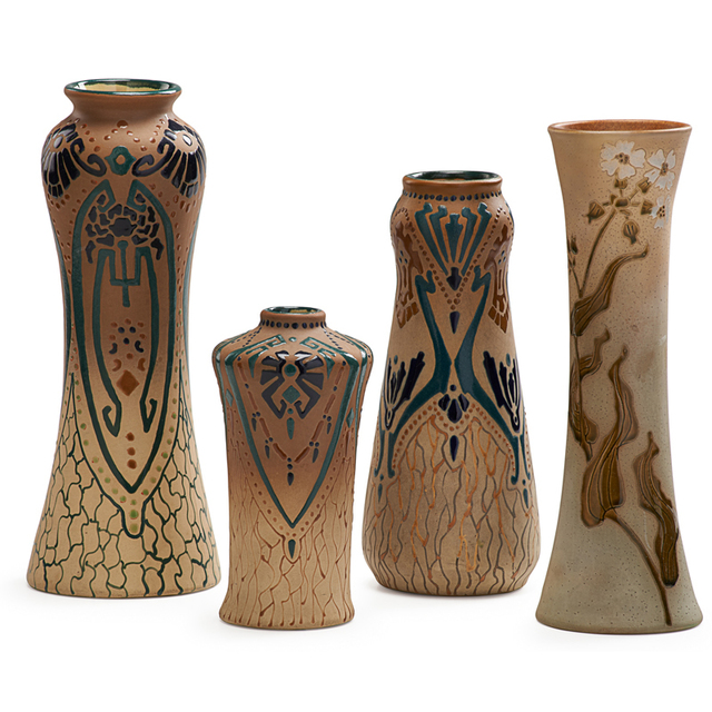 Roseville Pottery, 'Rozane, Three Fudji Vases And One Woodland Vase, Zanesville, OH', 1905-6, Rago/Wright