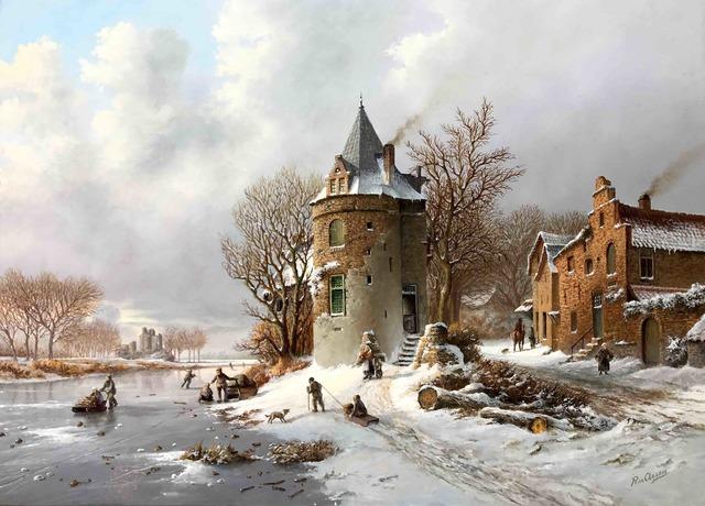 , 'Tower along frozen canal...,' , ArtBoutique