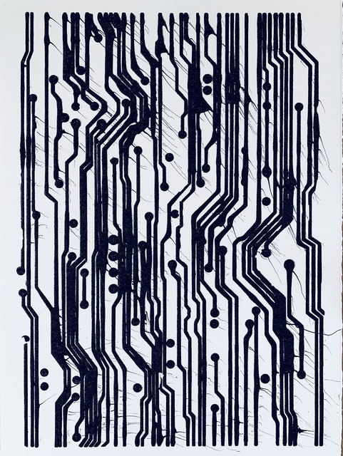 Analía Saban, 'Ink Circuit Board #1', 2019, Drawing, Collage or other Work on Paper, Ink on paper, LAXART Benefit Auction