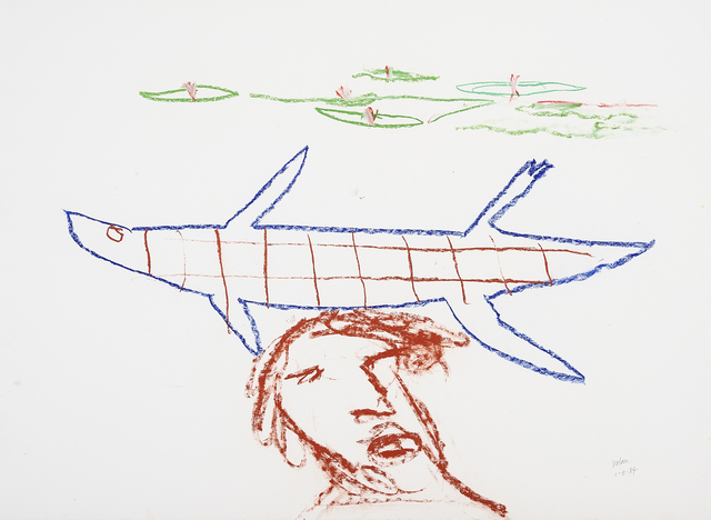 Sidney Nolan, 'Head with crocodile and waterlilies', 1984, Drawing, Collage or other Work on Paper, Pastel on paper, Charles Nodrum Gallery