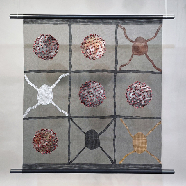Joan Webster-Vore, 'Tic Tac Co(vid)', 2020, Painting, Mixed Media: Screen, paint, thread, string, shadows, Dab Art