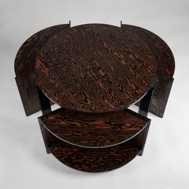André Sornay, 'Coffee table with three nests', ca. 1935, Design/Decorative Art, Oregon pine with brass nails and solide mahogany, Galerie Alain Marcelpoil
