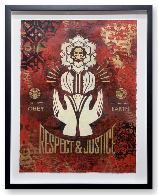 Shepard Fairey, 'Respect and Justice Study', 2015, Mixed Media, Stencil, silkscreen and collage on paper, Samuel Owen Gallery