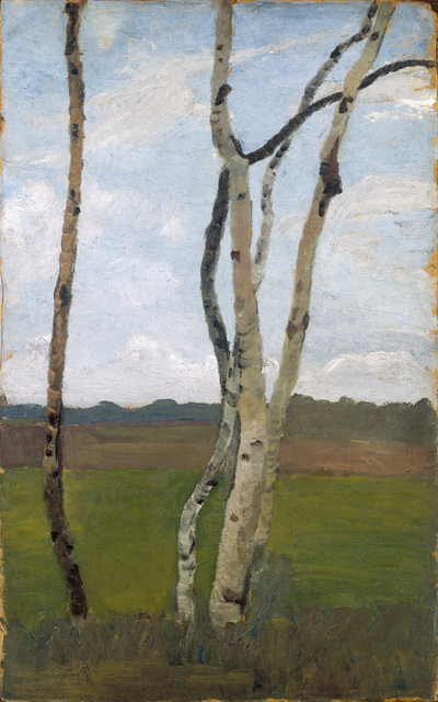 Paula Modersohn-Becker, 'Birkenstämme vor Landschaft,(Birch Trees in Front of a Landscape)', c. 1901, Louisiana Museum of Modern Art