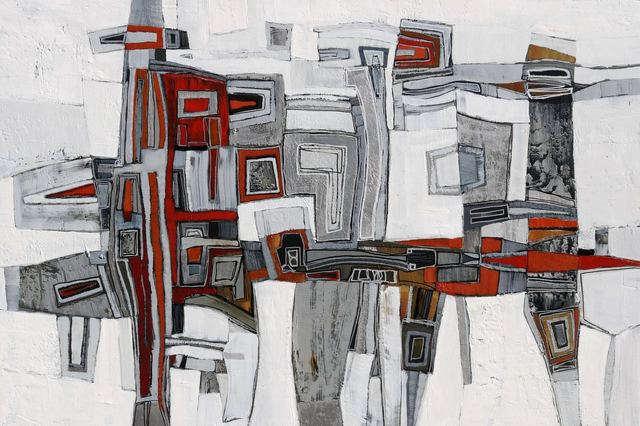 ", '""Essex 4"" geometric abstract oil painting in white, grey and red,' 2010-2018, Eisenhauer Gallery"