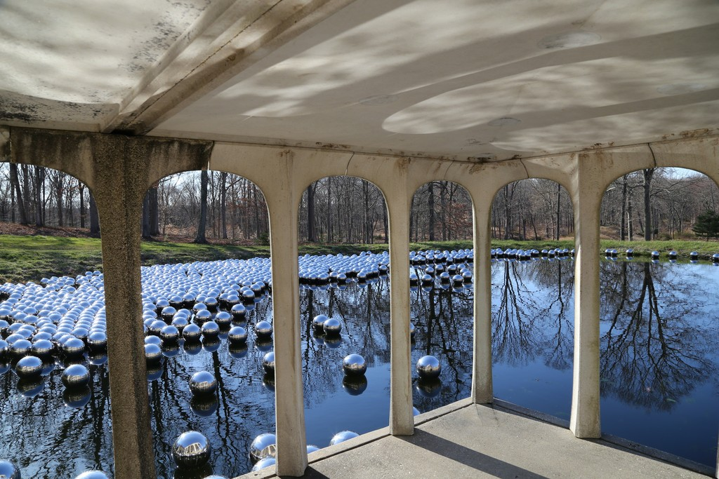 "Installation view of ""Yayoi Kusama: Narcissus Garden"" at Glass House, New Canaan (2016). Photo credit ©KUSAMA Studio"