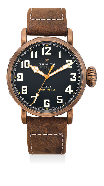 Zenith, 'A fine and attractive bronze wristwatch with sweep center seconds, international warranty and presentation box', Circa 2015, Phillips